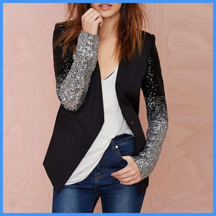Zanzea Women Jacket Coat 2017 Spring Fall Work Blazers Suit Long Sleeve Bling Silver Black Sequins Elegant Ladies Blazer feminin