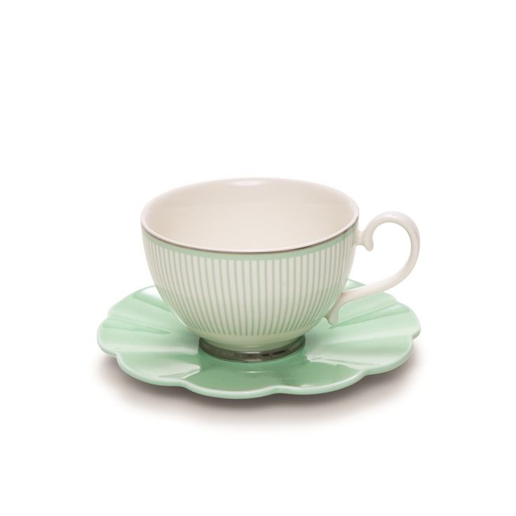 Eclectic Teacup And Saucer - Green