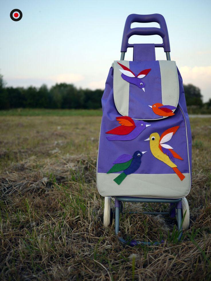 Colourful birds handmade shopping trolleys - Woozing