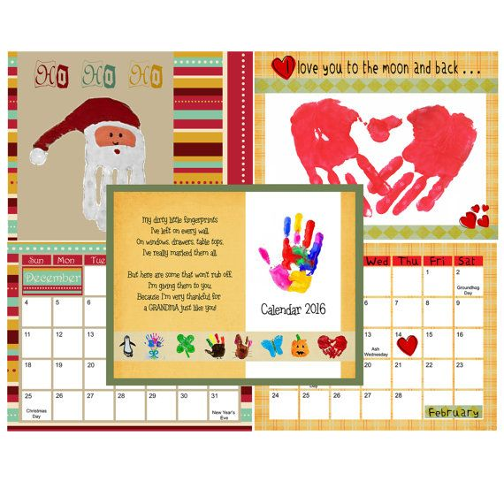 The 2016 printable hand and footprint calendar is here for Create my own calendar template