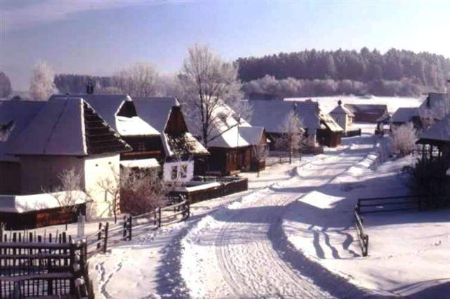 Museum of Slovak village in winter, Martin