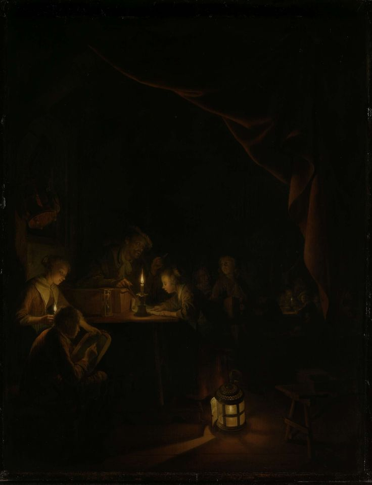 De avondschool, Gerard Dou, ca. 1660 - ca. 1665