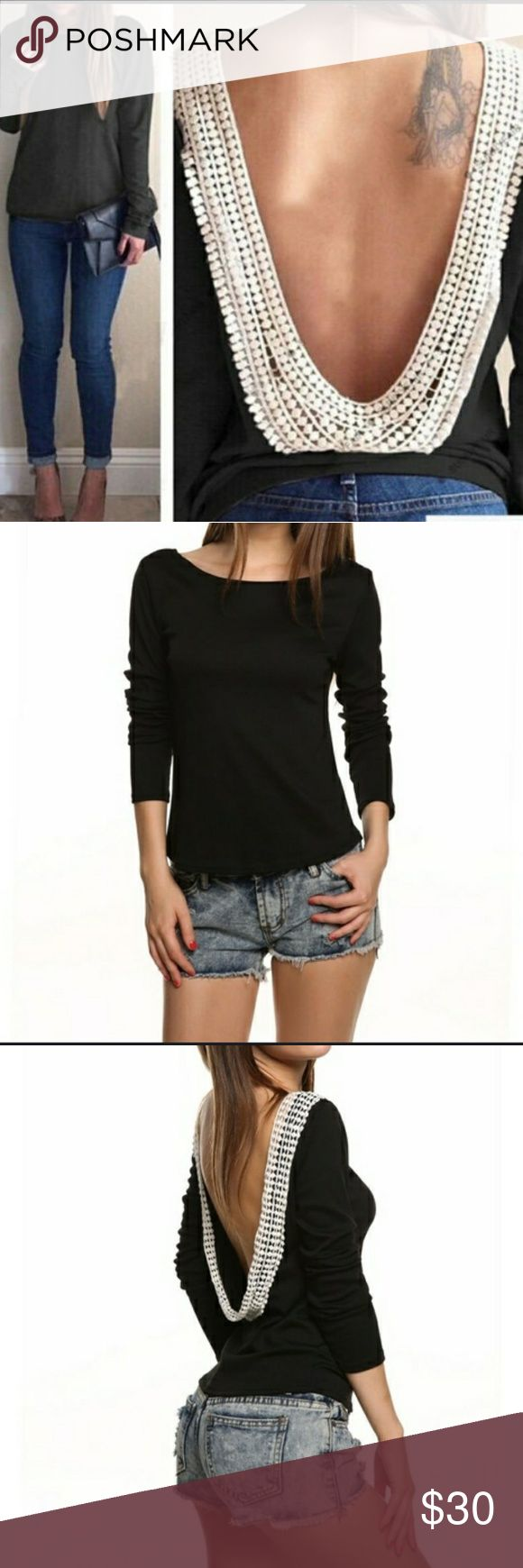 """Sexy backless top (embroidered trim) This blouse is absolutely breathtaking!  Looks like an ordinary top from the front....turn around to reveal beautiful embroidery outlining the """"u"""" back.  Polyester/cotton blend Tops"""