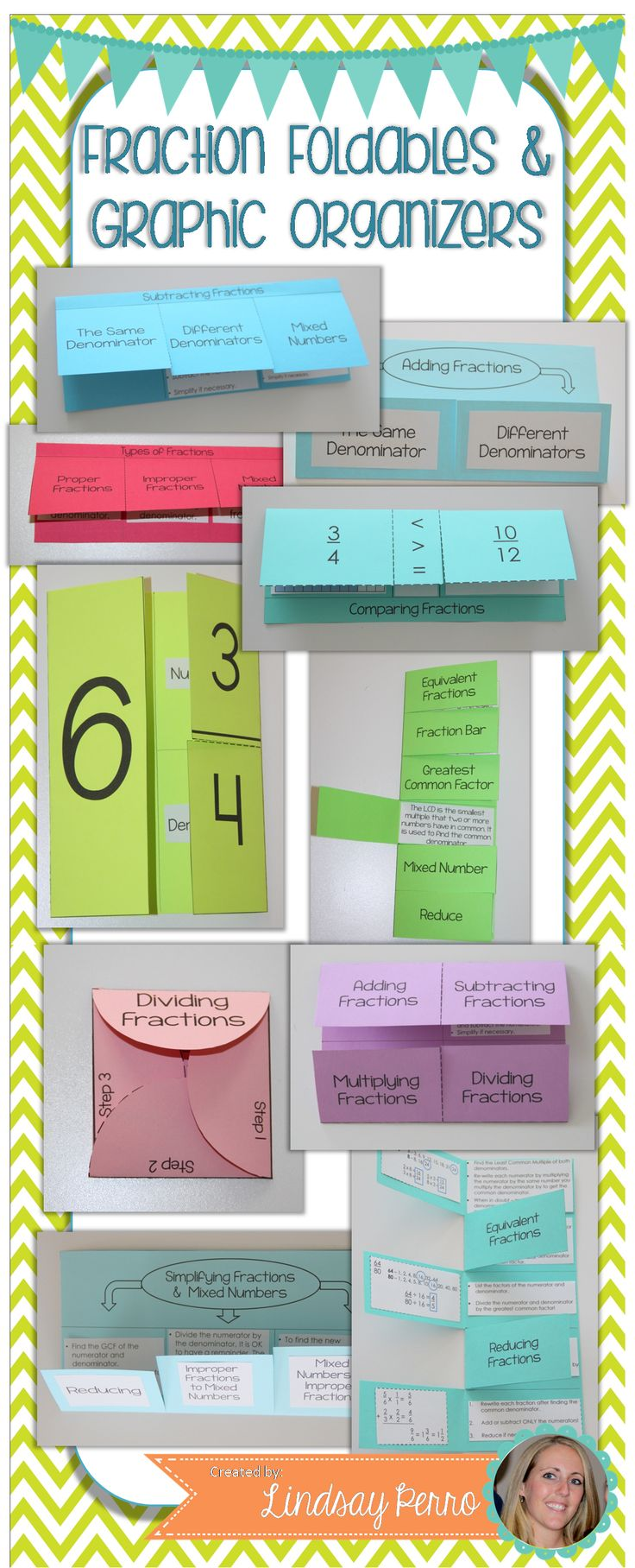Chances are, your students let out a nice big GROAN when you tell them it's time to take notes. Bring some color, fun and creativity to notes by using foldables and graphic organizers!  This collection of 10 foldables and 5 graphic organizers will breathe some life back into notes on fraction operations and concepts.  Each foldable includes directions and pictures, as well as a variety of options for you when it comes to how complete you want the foldables to be.
