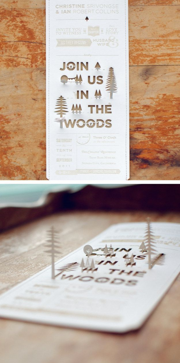 This groom spent hours using a laser cutter to ensure that each of these DIY invites was perfect.