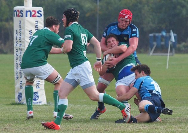 Eton Manor get to grips with their London Irish Wild Geese opponents (pic: Martin Pearl).