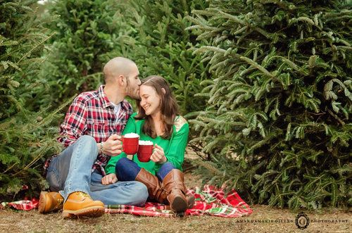 Christmas couples photo session at Barr Evergreen tree farm in Wilmington, NC.