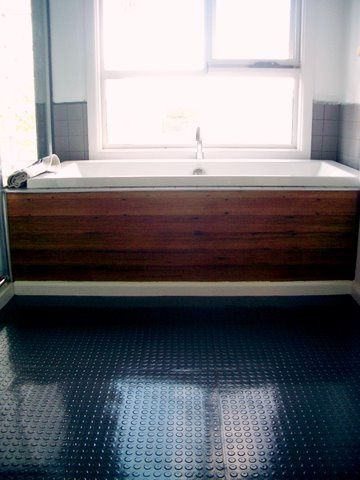 Our bathroom with fancy Dalsouple rubber flooring. Find these materials and more ideas at Bay Area Floors in Santa Cruz.