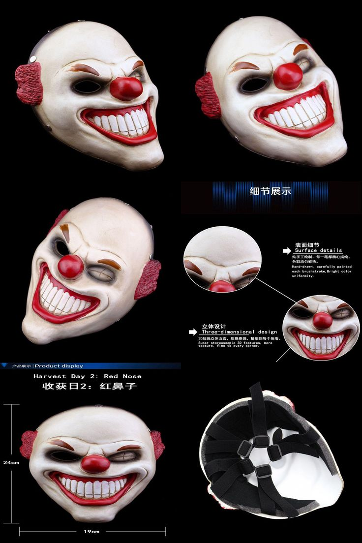 [Visit to Buy] Red Nose Clown Resin Mask Full Face Movie Payday2 Theme Scary Masks Halloween Masquerade Costume Party Cosplay Props Adult Size #Advertisement