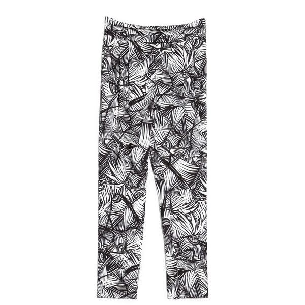 Mango Tropical Print Trousers (40 AUD) ❤ liked on Polyvore featuring pants, side zip pants, pleated trousers, mango pants, mango trousers and side zipper pants