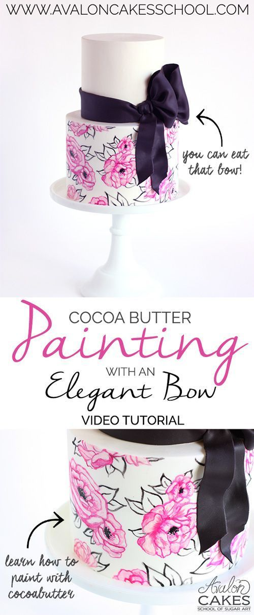 Cocoa butter painting tutorial with a gorgeous floral pattern and top it off with a edible bow! This is easier than you think! So much fun! Cake tutorial. Hand painted. www.avaloncakesschool.com