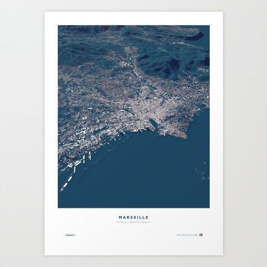 Marseille - Host City of the UEFA Euro 2016 in France.<br/> <br/> A real world visualization map, showing the city structures of Marseille with an exact three-dimensionality of topography and buildings in a balanced mixture of information and aesthetics.