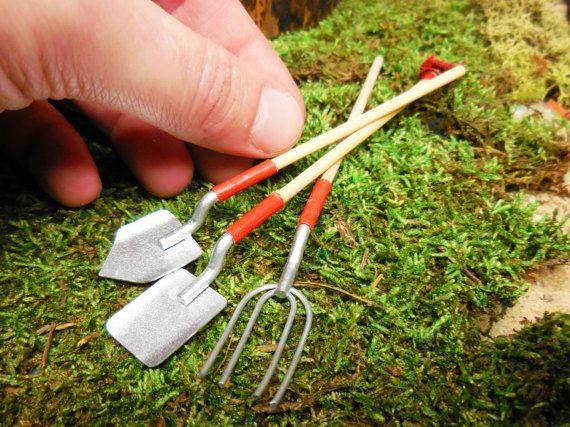 Fairy Garden Tools, Miniature Rake, Shovel, and Spade for Fairy Gardens, Terrariums, Zen Gardens, Realistic Dioramas, and Dollhouses