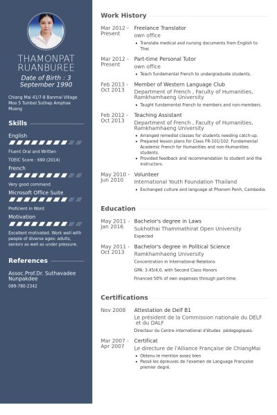 resume template in chinese