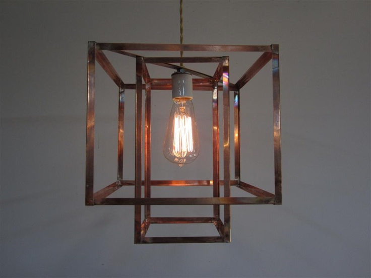 Dining room geometric copper hanging pendant light chandelier 239 00 via etsy