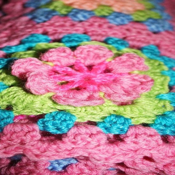 Coral, Green Blue and Pink With a Pink Scalloped Edge. With Flowers by babyspreciousgifts