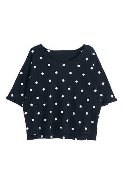 ROMWE | ROMWE Polka Dot Print Batwing Split Black T-shirt, The Latest Street Fashion