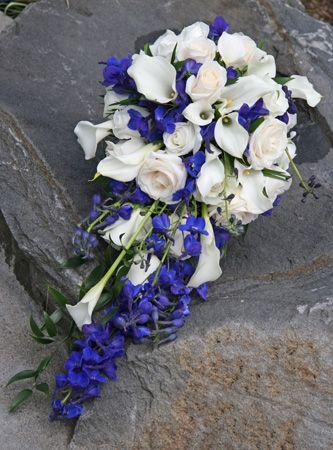 horizon blue wedding | BB0551-Horizon Blue and White Cascading Bouquet