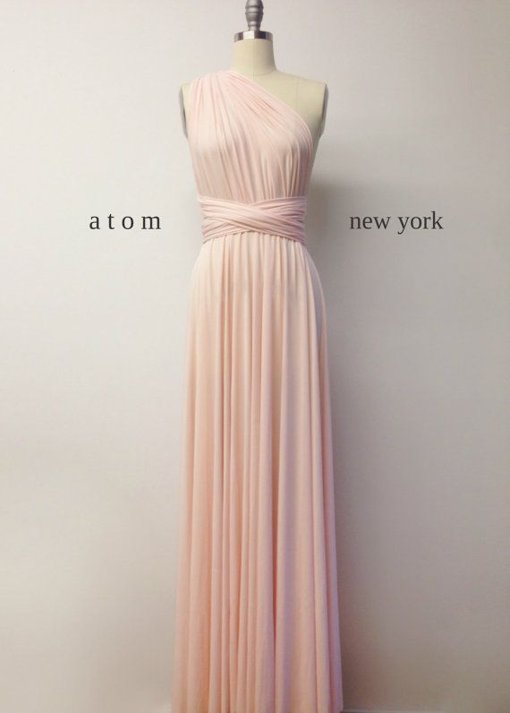 Blush Pink LONG Floor Length Ball Gown Maxi Infinity Dress Convertible Formal Multiway Wrap Evening Dress Bridesmaid Dress Weddings Prom