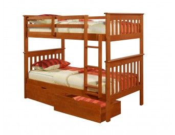 Twin/Twin Mission Bunk Bed Espresso with Fixed Ladder