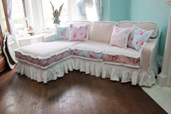 shabby chic sectional sofa vintage rose chenille bedspread slipcover ruffle white custom order. Black Bedroom Furniture Sets. Home Design Ideas