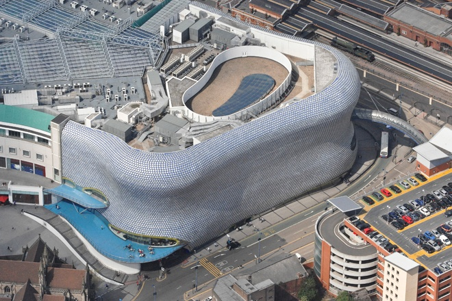 An aerial photograph of Birmingham's Bull Ring shopping centre