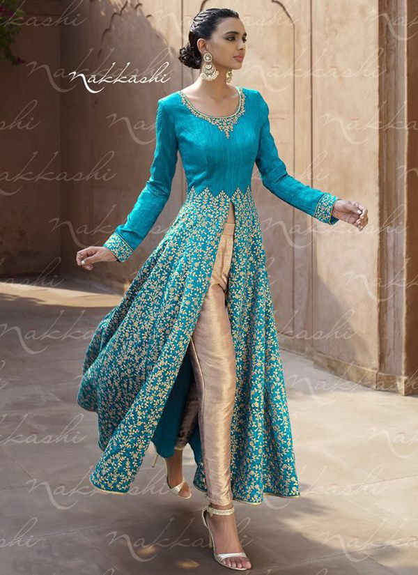 Turqoise and Linen Georgette Anarkali