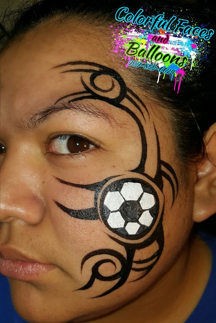 tribal Soccer face paint, Colorful Faces by avie - Face Painting in Redlands, California & Surrounding Cities, balloon twisting, balloontwisting, parties, party ideas, parties for boys, parties for girls, Colorful Faces by Avie, Colorful Faces and Balloons