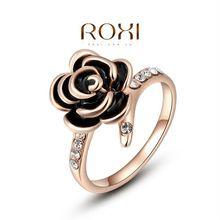 Roxi noel hediyesi klasik orijinal avusturya kristaller örnek satış gül altın kaplama siyah gül yüzük takı partisi, 2010229200(China (Mainland))