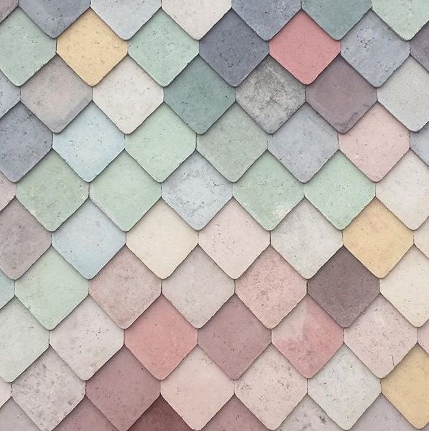 pastels || Yardhouse / Assemble facade : clad in decorative concrete tiles handmade on site