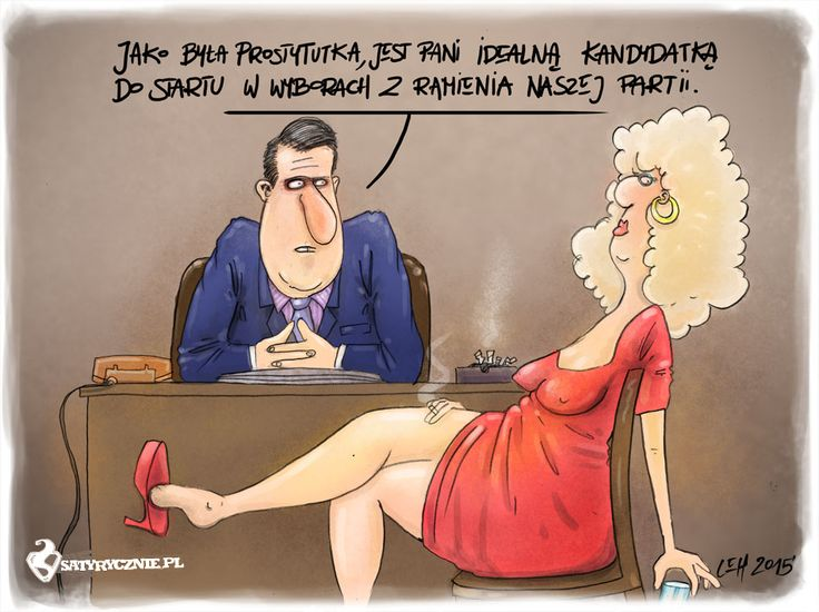 Polityczna prostytuacja- rysunek satyryczny