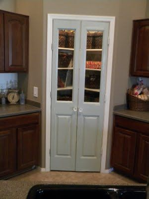 double doors with glass replaces regular door, plus the pantry interior got a fab makeover