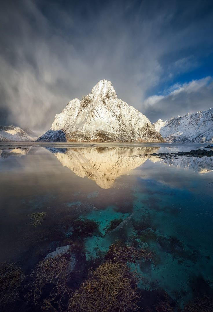 Glowing Olstinden, Norway, by Hans-Peter Deutsch