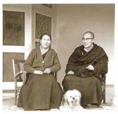 14th Dalai Lama with his mother and pet lhasa, India 1960's