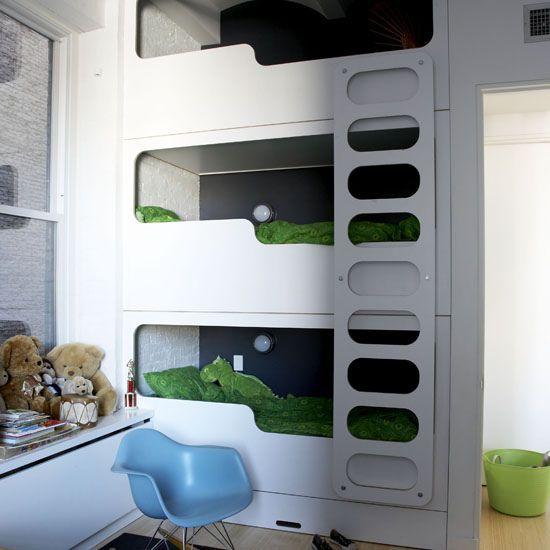 Urban Bunk Beds by AMM blog, via Flickr #Bunk_Beds #AMM_BlogBoys Bedrooms, Kids Room, Kidsroom, Kid Rooms, House, Triple Bunk Beds, Boys Room, Bedrooms Ideas, Bunkbeds