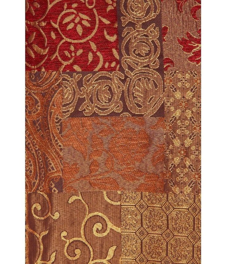 Croscill Galleria Pole Top Drapery Panel Pair Red Burgundy Gold Brown Curtains #Traditional
