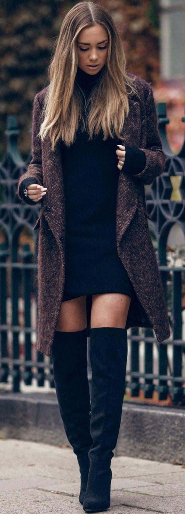 Lisa Olsson Black Thigh High Overknees Fall Street Style Inspo #lisa                                                                                                                                                                                 More