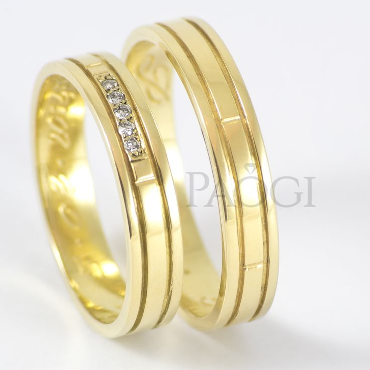 PAOGI - Alianzas Cinta con Centro Ancho y Diamantes en Oro Amarillo