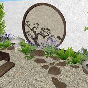 Un concepto original, creativo y económico de un jardín minimalista con adornos de bambú · Diseños del mismo jardín en el patio, el pasillo y el frente de la casa