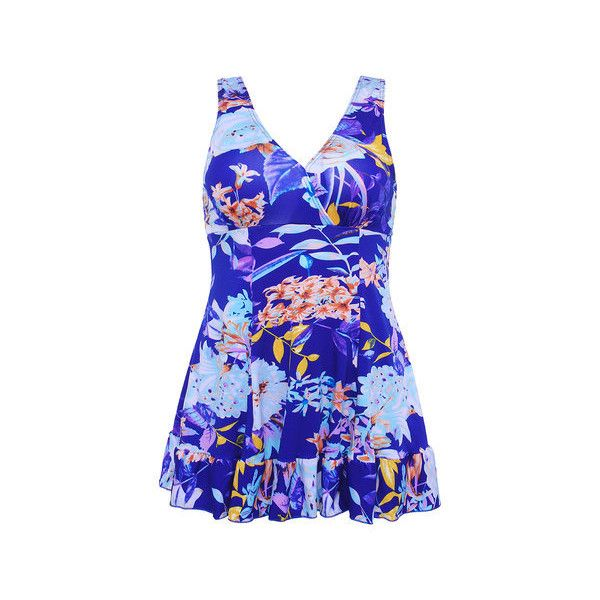 Plus Size Deep V Flower Printing Sleeveless Breathable Swimdresses (£8.57) ❤ liked on Polyvore featuring swimwear, one-piece swimsuits, royal blue, plus size one piece swimsuit, royal blue one piece swimsuit, swimdress bathing suits, swim dress and push up swim suit