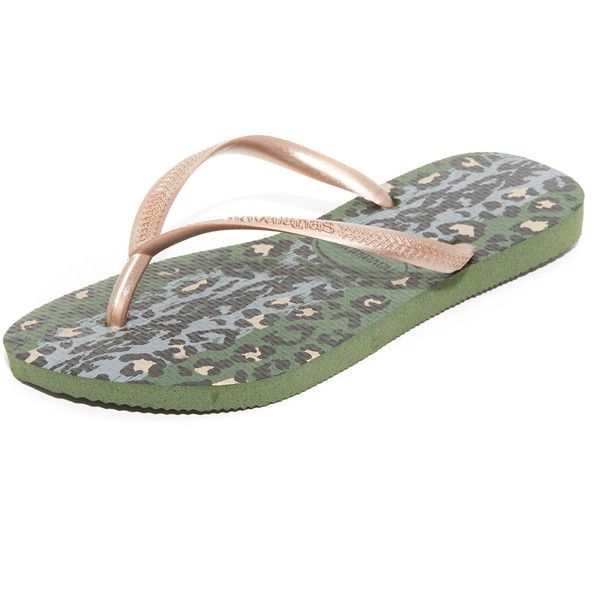 Havaianas Slim Animals Flip Flops (38 CAD) ❤ liked on Polyvore featuring shoes, sandals, flip flops, green olive, rubber flip flops, olive green flip flops, rubber sole shoes, olive green shoes and animal print shoes