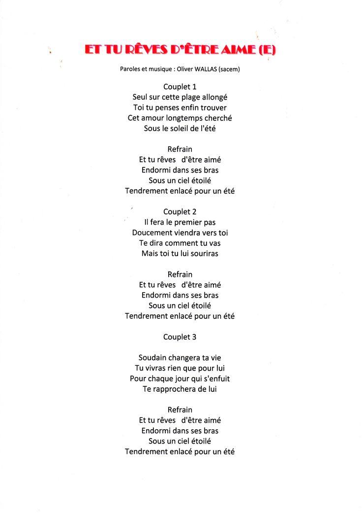 chanson d 39 amour wallas oliver partitions musicales et textes cherche voix pinterest. Black Bedroom Furniture Sets. Home Design Ideas