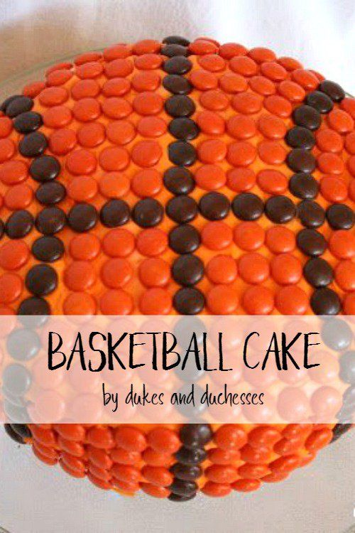 Make a simple but fabulous basketball cake with a storebought cake mix, icing, and Reese's Pieces!