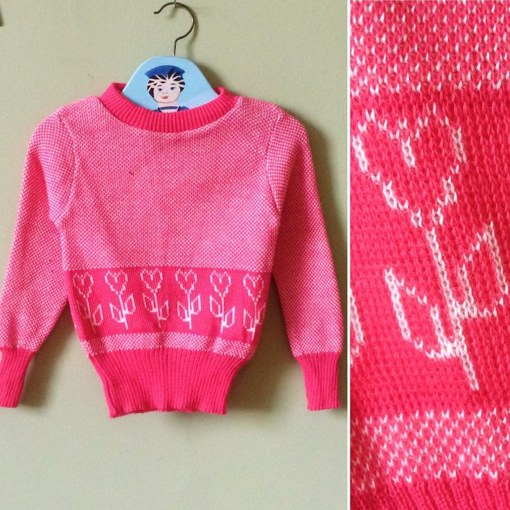 Vintage girls jumper / girls sweater. Toddler. Vintage childrens clothes. 1970s unworn new vintage. Pink & white. Age 2 years - age 4 years by YoungTeamVintage on Etsy