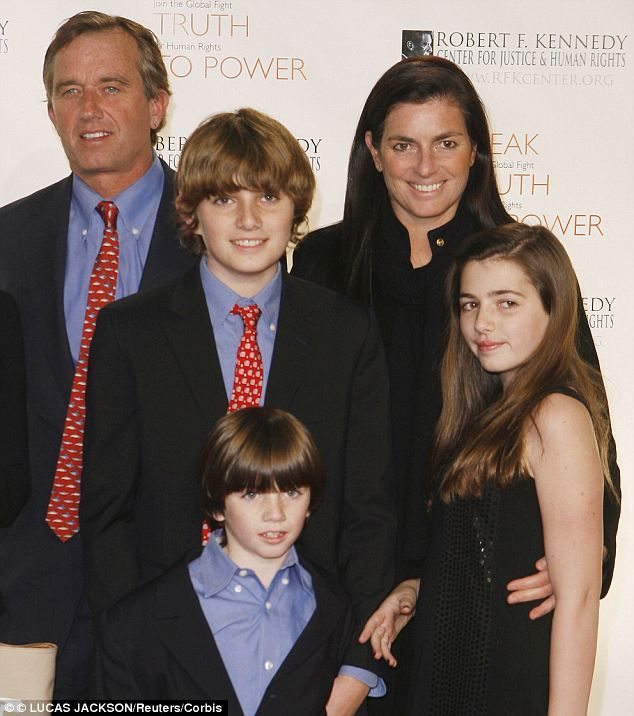Distress: Mary Kennedy and her husband Robert pictured with three of their four children in 2008 at a benefit. She was said to be terrified that she would lose custody of them