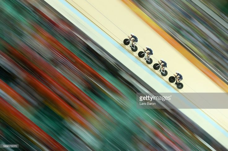 Team Great Britain competes in the Women's Team Pursuit first round on Day 8 of…