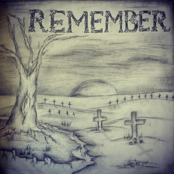 Remembrance day contest winner old drawing charcoal and pen