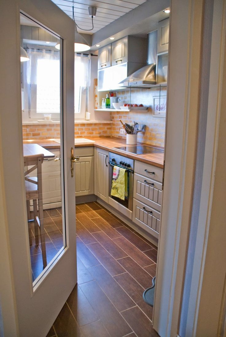 Tiny Kitchen Renovation With Faux Painted Brick Backsplash Small Kitchens Cabinets And Over The