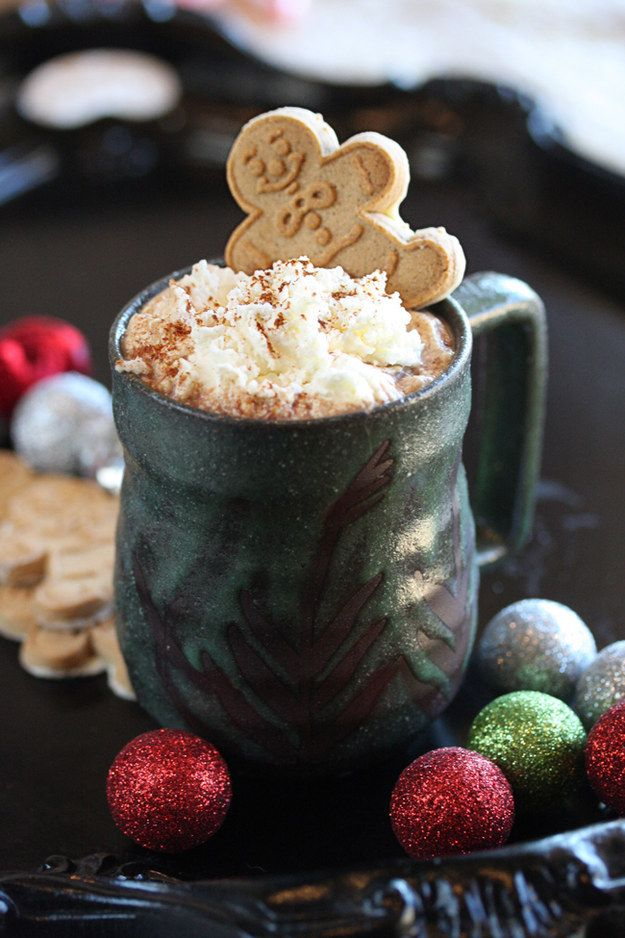 The weather outside is frightful so curl up and make some yummy hot chocolate like this fun Gingerbread Hot Cocoa recipe. | Buzzfeed