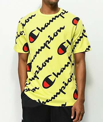 5d982caee2e4 Champion Explode Script Yellow T-Shirt